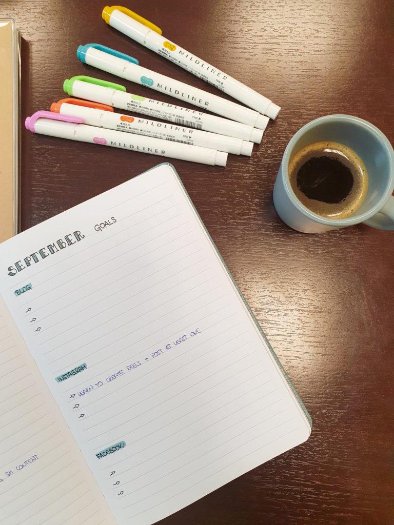 bullet journal for bloggers next month goals